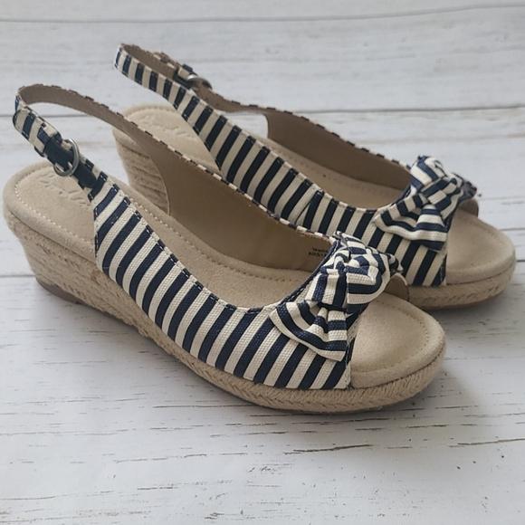 Boden Slingback Navy/White Striped Sandels Sz 8.5